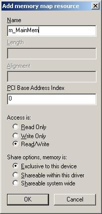 Задание диапазона адресов памяти.